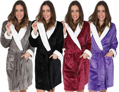 Luxuriously Soft Ladies Knee Length Fleece Robe with Sherpa Lined Collar & Cuff.