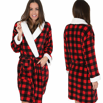 Luxurious Ladies Knee Length Red Check Robe with Sherpa Fleece Collar & Cuff