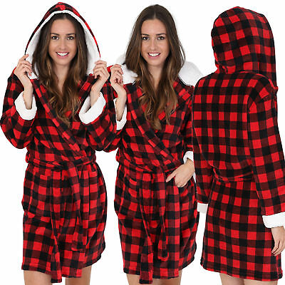 Luxurious Ladies Short Length Red Check Hooded Robe with Sherpa Fleece Lining