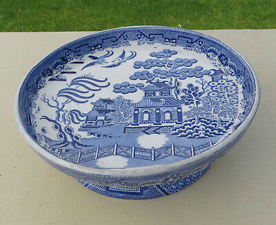 Mid 19th Century Blue & White Transfer Ware Cheese/Cake Stand - Willow Pattern