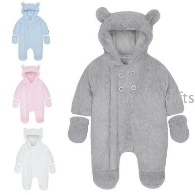 Baby Boys Girls Spanish Style Faux Fur Hooded Button Pramsuit & Mittens Snowsuit