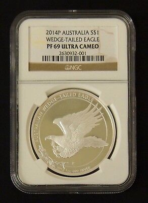 2014P Australia S$1 1 oz Silver Wedge-Tailed Eagle PF69 Ultra Cameo NGC Graded