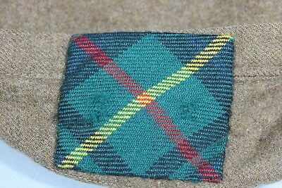 WW2 Era United Kingdom British Royal Scots Beret W/ Tartan Backing. No Lining.