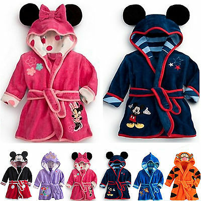 Baby Kids Boys Girls Minnie Towelling Dressing Gown Bath Robes Hooded Sleepwear