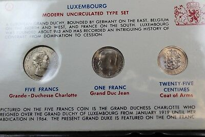 Luxembourg 3 coins modern unc type set   lot J132
