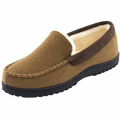 Men's Classic Cozy Warm Wool Micro Suede Moccasin Slippers House Shoes Size 9