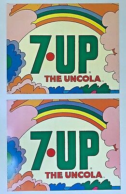 Vintage LOT OF 2 Acrylic 7UP 7 UP The Uncola SIGNS Pyschedelic POP ART Decals?