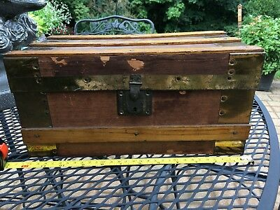 """small oak and brass WOODEN CHEST, 12"""" x 6"""" x 6.5"""""""
