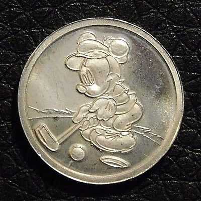 Mickey Mouse Minnie Mouse Playing Golf   Pure Silver Coin  .999 Walt Disney