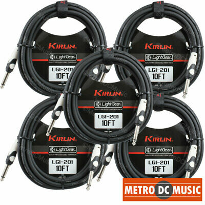 "5-Pack Kirlin 10 ft Guitar Instrument Patch Cable Cord Free Velcro Tie 1/4"" NEW"