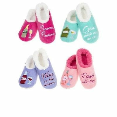Ladies Slippers Snoozies! Fun Boozie Slippers Ideal Gift Gin Prosecco Wine Rose