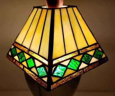 Pair of Vintage Mission Style Stained Glass Shades Square Copper