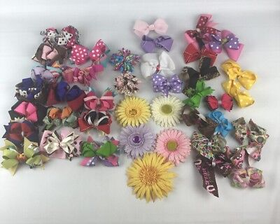 Lot Of 40+ Baby Girls Kids Grosgrain Ribbon Boutique Hair Bows Alligator Clips