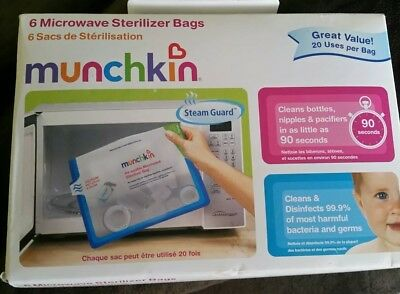 Munchkin NEW Microwave Sterilizer Bags 6 Bags -  Reusable 20 Times