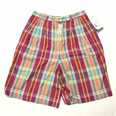 NEW Pendleton Shorts Size 10 Plaid, Vintage Made In USA, 100% Rayon
