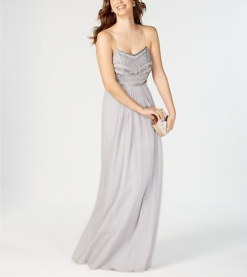 New $549 Adrianna Papell Women'S Silver Sequin Beaded Chiffon Gown Dress Size 4