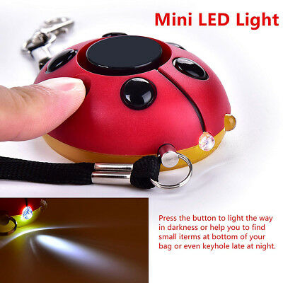 130DB Safety Emergency Personal Alarm KeyChain with LED Light Ladybug Utility