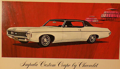 New Old Stock 1969 Chevrolet Impala Dealers Promo Post Card Unused Litho in USA