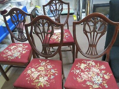 Vintage Needlepoint Chairs (4) #769
