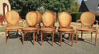 Vintage French Set Of 8 Bergère Cane Dining Chairs Medallion Louis XV Style
