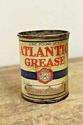 Vintage ATLANTIC 1lb Grease Oil Can