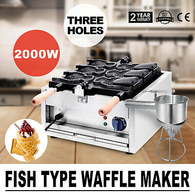 Commerical Taiyaki Fish Waffle Maker Machine With Funnel 2000W Pop Cheap GREAT