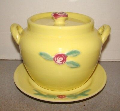 Coors Pottery Yellow Rosebud Bean Pot w/ Underplate