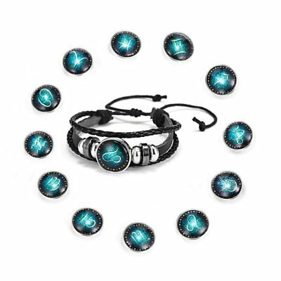 12 Horoscope Zodiac Birth Bracelet Multi Layer Leather Braided Mens Punk Jewelry