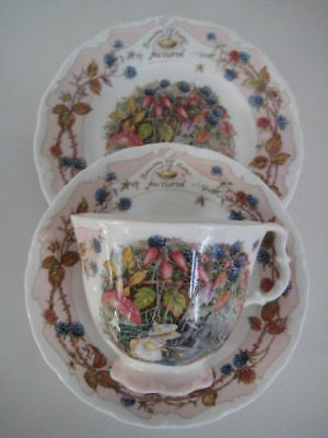 Royal Doulton Brambly Hedge Seasons Autumn Trio Cup Saucer & Plate Tea Party Set