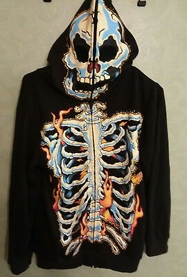 Four Seasons Design Skeleton Cosplay Hoodie Boys Size L large Full Face Mask