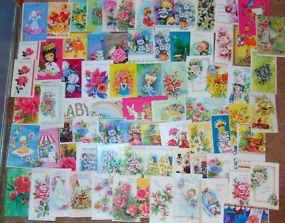 Lot of 80 Vintage Unused Greeting Cards~Birthday~Baby~Get Well~Anniversary