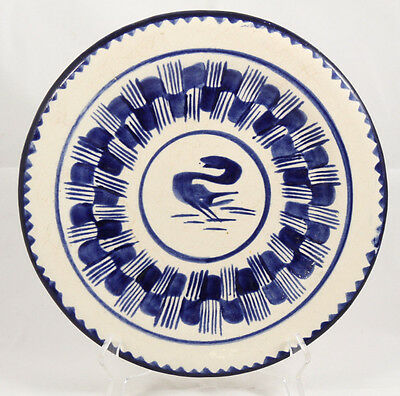 Antique/Vntg Ceramic Plate/Dish Mexico Hand Made/Painted Folk Art Collectible
