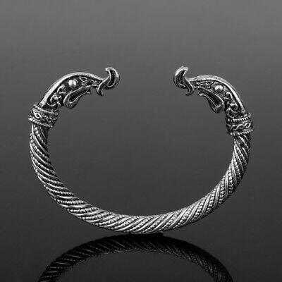 Viking Dragon Boat Head Sacred Arm Ring Bracelet SILVER Vikings Ragnar Lothbrok