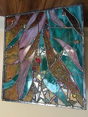 Stained Glass Window  Abstract Transom Suncatcher Panel OOAK