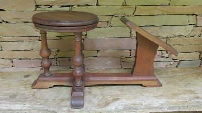 RARE Antique Solid Walnut  Shoe Shine Bench Stool Foot Stand VERY UNIQUE