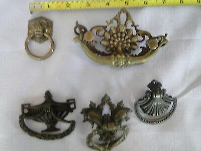 Lot of 5 Antique Fancy Brass Drawer Pull Handles Hardware