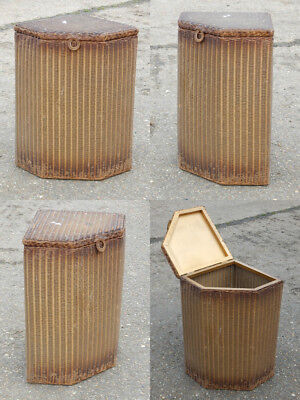 Antique vintage genuine Lloyd Loom corner laundry basket by W Lusty & Sons Ltd