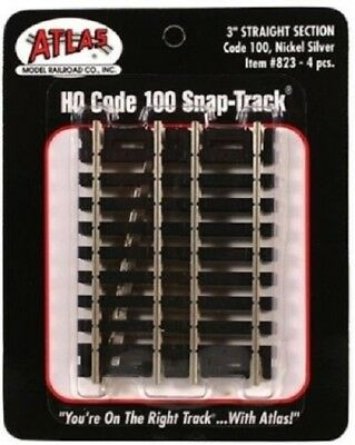 "HO Atlas #823 Code 100 Snap Track  Nickel Silver  3"" Straight  Section  4 pcs."