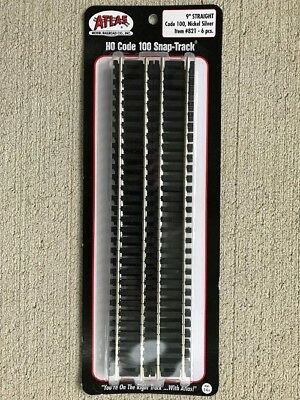 "HO Atlas #821 Code 100 Snap Track  Nickel Silver  9"" Straight  Section  6 pcs."