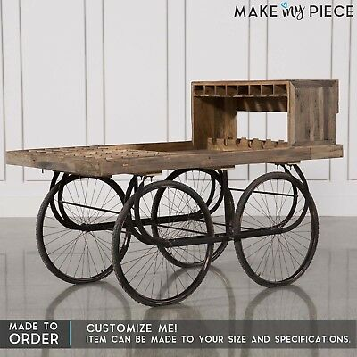 MADE TO ORDER Antique Industrial solid wood Wine Rack Bar Cart on wheels 1.8M