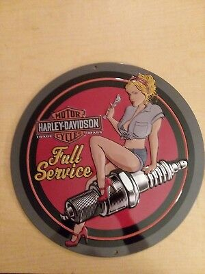 Harley Davidson Spark Plug Babe Wall Hanging Art Embossed Tin Sign Great Gift