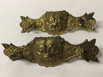 Lot of 2 Antique Brass Figural Dog Heads Dresser Pull Backplates Embossed Raised