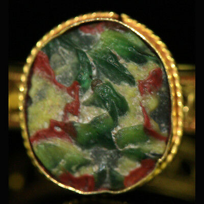 Roman-Egyptian Glass set in modern 15ct gold as a ring y230
