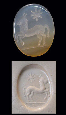 Israelite Chalcedony seal, with horse motif., 1st Millennium BC x5084