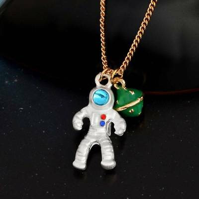 Fashion Astronaut Planet Charm Pendant Necklaces Clavicle Chain Jewelry