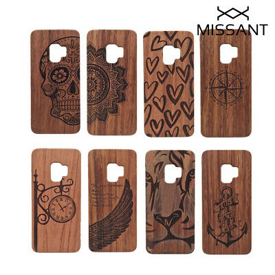 Natural Wood Carved Bamboo Wooden Case for Samsung Galaxy S5 S6 S7 S8 S9 Note 8