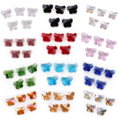 Hot 10PCS 14mm Faceted Glass Crystal Butterfly Loose Spacer Beads Jewelry Making