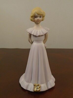 "Vintage Enesco Growing Up Birthday Girls Blonde Age 13 Porcelain 6"" Figurine"