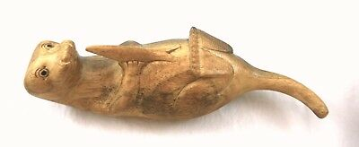 """Sea, River Otter w Fish. Vintage Hand Carved Detailed Two Tone Wood Figurine. 8"""""""
