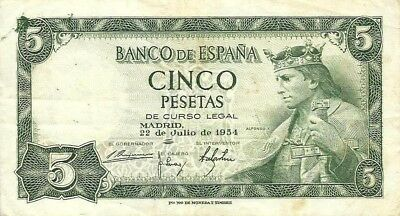 """Spain 5 Pesetas 1954 P146a VG Alfonso """"The Wise"""""""